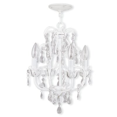 Sutton-in-Ashfield 4-Light Modern Crystal Chandelier Finish: Antique White