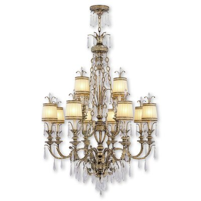 Perot 12-Light Shaded Glass Chandelier