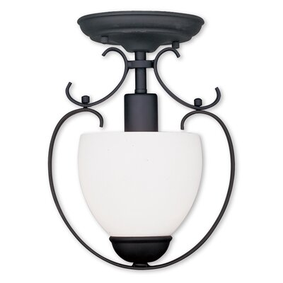 Brookside 1-Light Convertible Foyer Pendant Finish: Black, Glass Color/Bulb Type: Satin White Glass/Medium Base