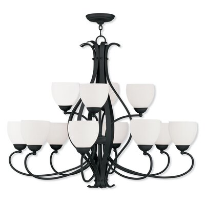 Whittaker 12-Light Shaded Chandelier Finish: Black