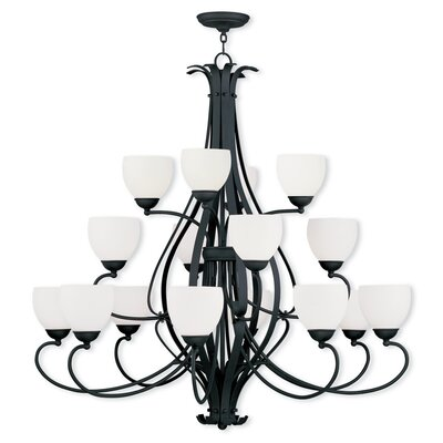 Whittaker 16-Light Shaded Chandelier Finish: Black