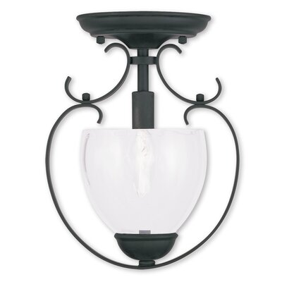 Whittaker 1-Light Convertible Foyer Pendant Finish: Black, Glass Color/Bulb Type: Clear Water Glass/Candelbra