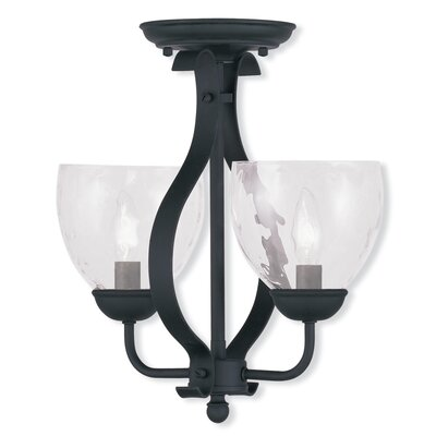 Whittaker 2-Light Shaded Chandelier Finish: Black, Glass Color/Bulb Type: Clear Water Glass/Candelbra