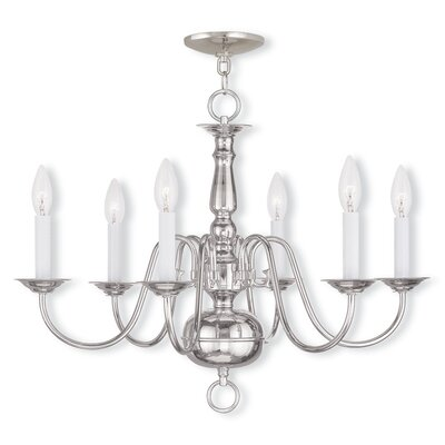 Allensby 6-Light Metal Candle-Style Chandelier Finish: Polished Nickel