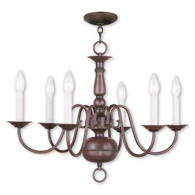 Allensby 6-Light Metal Candle-Style Chandelier Finish: Imperial Bronze