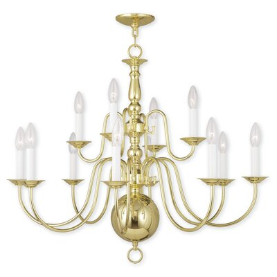 Allensby 12-Light Candle-Style Chandelier Finish: Polished Brass