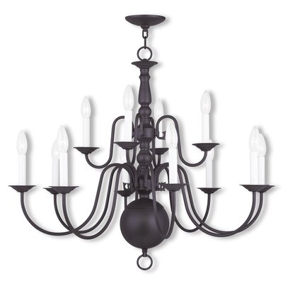 Williamsburgh 12-Light Candle-Style Chandelier Finish: Bronze
