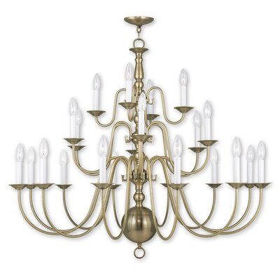 Allensby 22-Light Candle-Style Chandelier Finish: Antique Brass