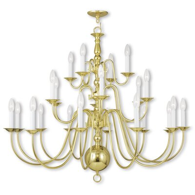 Allensby 22-Light Candle-Style Chandelier Finish: Polished Brass