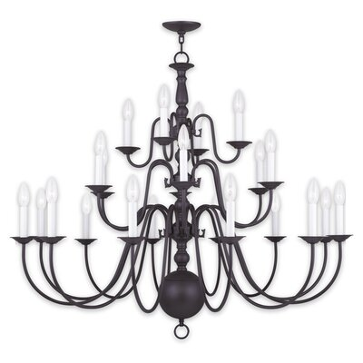 Williamsburgh 22-Light Candle-Style Chandelier Finish: Bronze