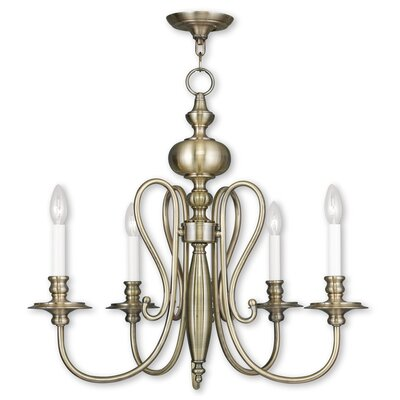 Echevarria 4-Light Metal Candle-Style Chandelier Finish: Antique Brass