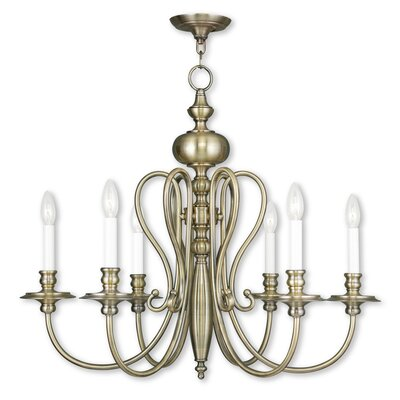Caldwell 6-Light Candle-Style Chandelier Finish: Antique Brass