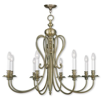 Echevarria 8-Light Candle-Style Chandelier Finish: Antique Brass
