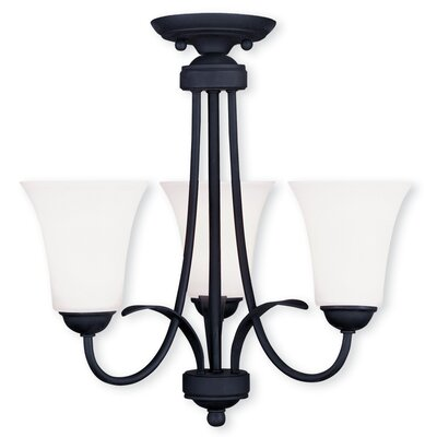 Ridgedale 3-Light Shaded Chandelier Finish: Black