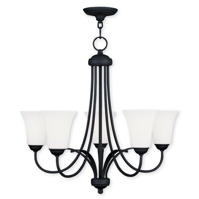 Grady 5-Light Glass Shaded Chandelier Finish: Black