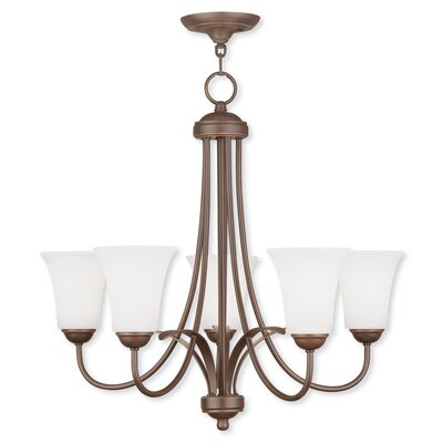 Grady 5-Light Glass Shaded Chandelier Finish: Vintage Bronze