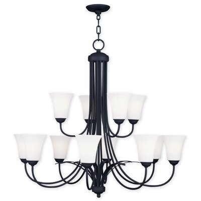 Grady 12-Light Shaded Chandelier Finish: Black
