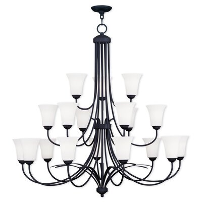Ridgedale 18-Light Shaded Chandelier Finish: Black