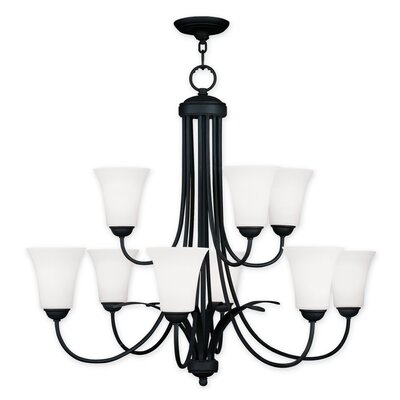 Ridgedale 9-Light Shaded Chandelier Finish: Black