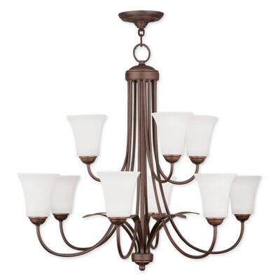 Grady 9-Light Shaded Chandelier Finish: Vintage Bronze