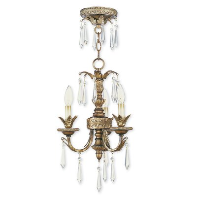 Perot 3-Light Crystal Chandelier