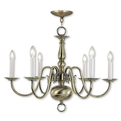 Allensby 6-Light Traditional Candle-Style Chandelier Finish: Antique Brass
