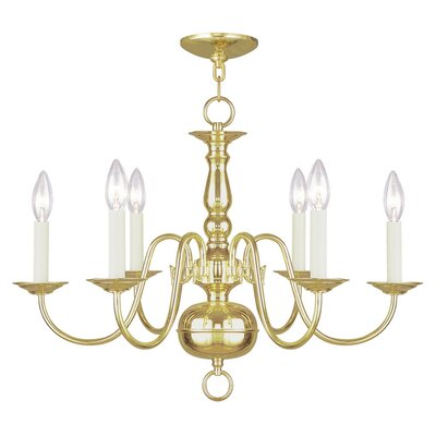 Allensby 6-Light Traditional Candle-Style Chandelier Finish: Polished Brass