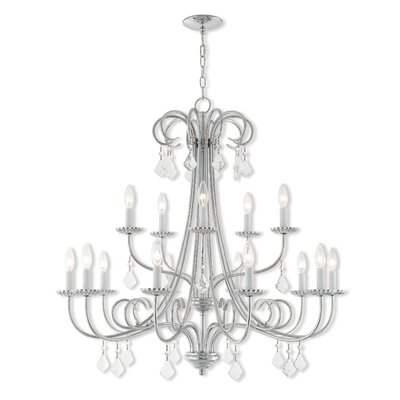 Devan 15-Light Candle-Style Chandelier Finish: English Bronze