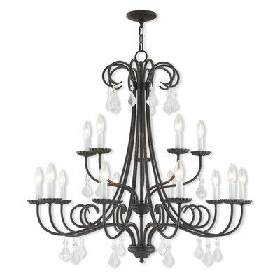Devan 15-Light Candle-Style Chandelier Finish: Brushed Nickel