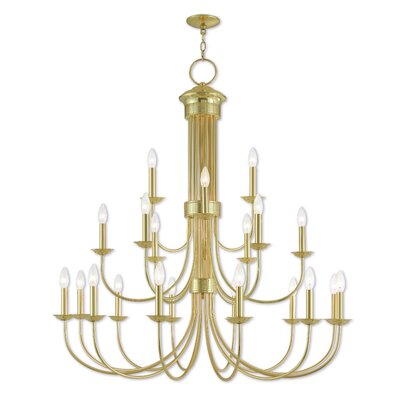 Croydon 22-Light Candle-Style Chandelier Finish: Polished Brass