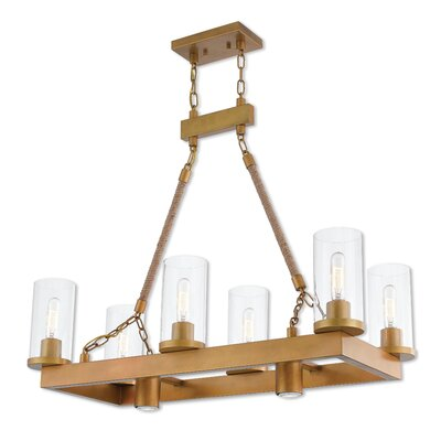 Abby Linear 6-Light Kitchen Island Pendant Finish: Aged Gold