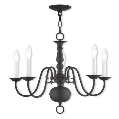 Allensby 5-Light Contemporary Metal Candle-Style Chandelier Finish: Bronze