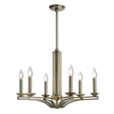 Dedham 6-Light Candle-Style Chandelier Finish: Antique Brass