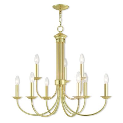 Croydon 9-Light Candle-Style Chandelier Finish: Polished Brass