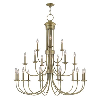 Lakemoor 22-Light Candle-Style Chandelier Finish: Antique Brass