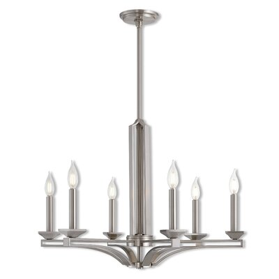 Dedham 6-Light Candle-Style Chandelier Finish: Brushed Nickel