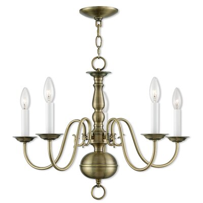 Allensby 5-Light Contemporary Metal Candle-Style Chandelier Finish: Antique Brass