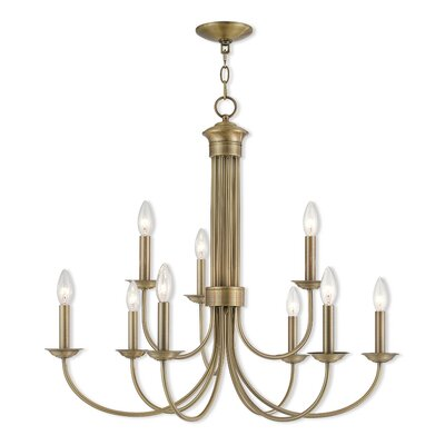 Croydon 9-Light Candle-Style Chandelier Finish: Antique Brass