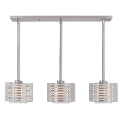 Virgina Linear 3-Light Kitchen Island Pendant Finish: Brushed Nickel