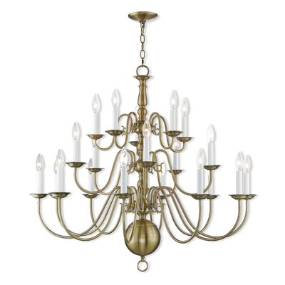 Allensby 20-Light Candle-Style Chandelier Finish: Antique Brass
