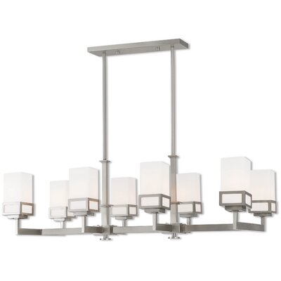 Bevins Linear 8-Light Kitchen Island Pendant Finish: Brushed Nickel