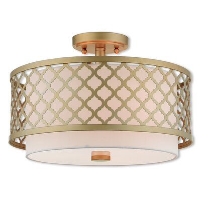 Tymvou Semi Flush Mount Size: 10.75 H x 15.25 W, Color: Soft Gold