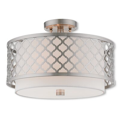 Bottomley Semi Flush Mount Size: 10.75 H x 18.13 W, Finish: Brushed Nickel