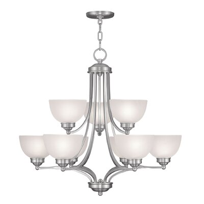 Irwin 9-Light Shaded Chandelier Finish: Brushed Nickel