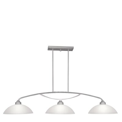 Irwin Bowl Shade 3-Light Kitchen Island Pendant Finish: Brushed Nickel