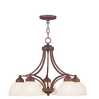 Irwin 5-Light Shaded Chandelier with Hanging Chain Finish: Vintage Bronze