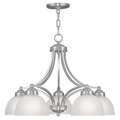 Irwin 5-Light Shaded Chandelier with Hanging Chain Finish: Brushed Nickel