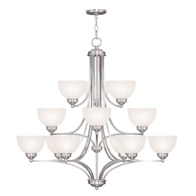 Irwin 12-Light Shaded Chandelier Finish: Brushed Nickel