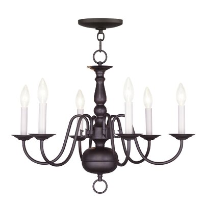 Allensby 6-Light Traditional Candle-Style Chandelier Finish: Bronze