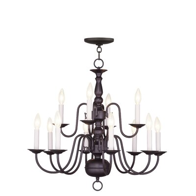 Allensby 12-Light Bronze Candle-Style Chandelier